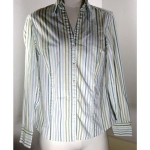 Ann Taylor LOFT Top 8 Striped Button Down